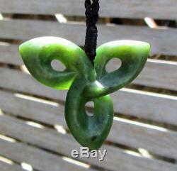 One Of Kind Gem Grade Nz Maori Pounamu Greenstone Jade Koroua Trefoil Pendant