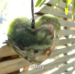 One Of Kind Huge Rarest Nz Pounamu Greenstone Picture Jade Maori Heart Necklace