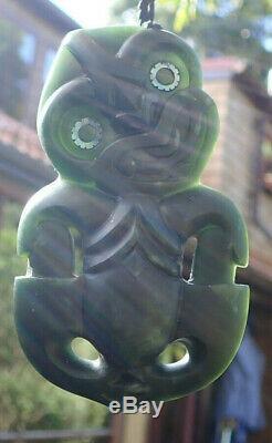 One Of Kind Large Niki Nepia Nz Pounamu Greenstone Nephrite Jade Maori Hei Tiki
