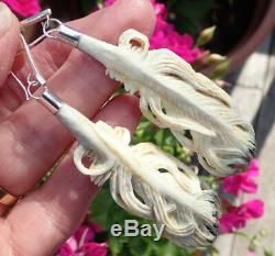 One Of Kind New Zealand Carved Stag Antler Sterling Maori Huia Feather Earrings