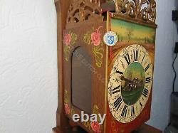 One Of Kind Oak Twentse Stoel Wall Clock With Floral Decoration