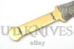 One Of Kind Rare Custom Damascus Double Edge Dagger Knife Sword Brass Handle 14