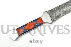One Of Kind Ud Custom Damascus Steel Full Tang Double Edge Dagger Knife Sword