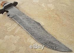 One-of-a-Kind 15'' Custom Handmade Damascus Steel Bowie Hunting Knife HH12