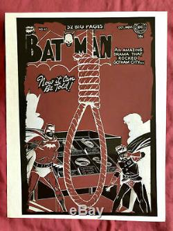 One-of-a-Kind BATMAN #67 Golden Age Original Negative Cover of 1951 Issue