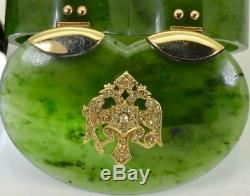 One of a kind Imperial Russian Faberge jewelled Nephrite, gold&Diamonds snuff box