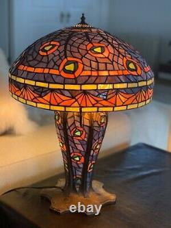 One of a kind Mosaic Peacock TIFFANY LIGHTED BASE TABLE LAMP /HEAVY