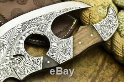 One-of-a-kind Rare Custom Hand Made D2 Tool Steel Knife Chisel Engraved