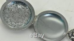 One of a kind Victorian silver MEMENTO MORI SKULL pocket watch shaped pill box