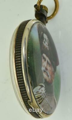 One of a kind WWI Omega Gunmetal, Silver&Enamel award pocket watch&Iron Cross fob