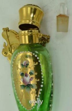 One of a kind antique Art-Nouveau Imperial Russian painted glass scent bottle