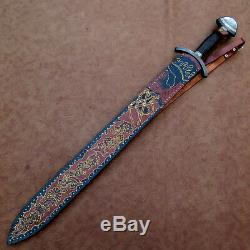 One-of-kind-rare Custom Hand Made Damascus. Viking Sowrd / Wengi Wood Handle