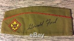 PRESIDENT GERALD FORD HAND SIGNED BOY SCOUT HAT ONE OF A KIND RARE WithCOA