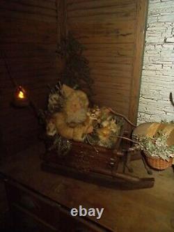 Primitive santa claus, antique reindeer, vintage sleigh, One of a Kind handmade
