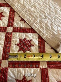 RARE Museum Quality One-of-a-Kind 1830-60 Applique Star Crib Quilt