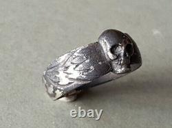 RARE ONE OF A KIND ANTIQUE German SILVER ANTIQUE MEMENTO MORI skull RING