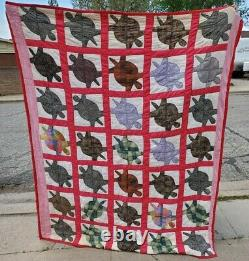 Rare One-of-a-kind Antique Vintage Collectible Turtle Tortoise Hand-sewn Quilt