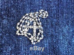 Rare Unique One-of-a-kind Vintage Creed Sterling Silver Pink/blue Rosary 35