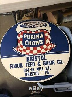 Rare Vintage Purina Chows Advertising Sign Bristol, Pa One Of A Kind Porcelain