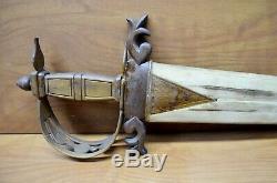 Rare Vintage Swordfish Bill Sword One Of A Kind Hand Carved Wood Handle
