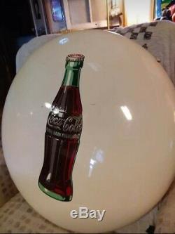 Rare White Vintage 1950's Coca Cola 24 Porcelain Button Sign One Of A Kind