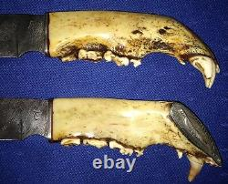 Roy Carter Custom Made Hunting Fixed Blade Knife Set 2 Knives One Of A Kind