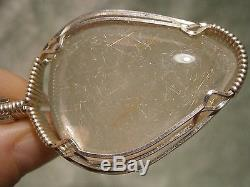 Rutilated Quartz Pendant Sterling Silver Wire Wrap & Chain One Of A Kind