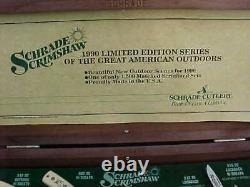 SCHRADE Matching 0000 Serial Number Scrimshaw Knife Collection 1990 One Of Kind