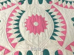 SPECTACULAR c 1900s NY Beauty Applique Quilt Vintage One of a kind RARE
