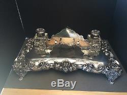 Sterling Silver Inkstand KING JOHN V Style Custom Desk Set ONE OF A KIND