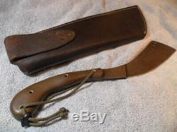 TM Hunt Rare Custom One of a Kind Build Parang 9 Fixed Blade Leather Sheath