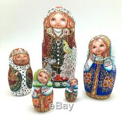 Unique Russian Nesting DOLL Hand Painted in watercolor One of kind Babushka set