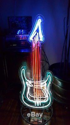 Unique guitar neon sign lights game room man cave music One of a kind Xmas Gift