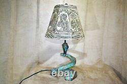 Vintage Art Deco Nouveau Lamp Snake Coil Hand Painted Shade One-of-a-kind
