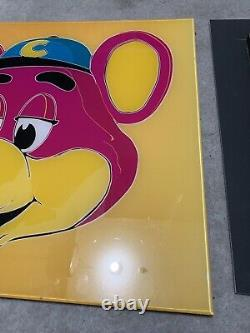 Vintage Chuck e Cheese acrylic poster Super One Of A Kind Andy Warhol Yellow