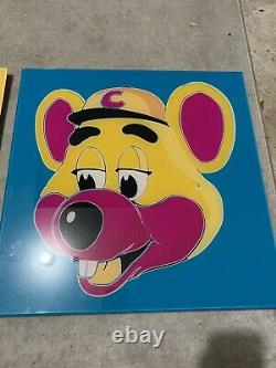 Vintage Chuck e Cheese acrylic poster Super Rare One Of A Kind Andy Warhol Pizza