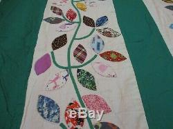 Vintage Handmade quilt 88 X 82 One of a kind/Leaves on front appliqued and back