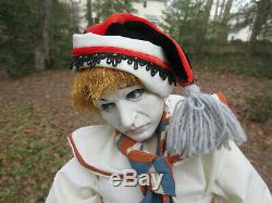 Vintage Pierrot Clown doll on stand 23 figure One-of-a-Kind Very Life-like