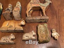 Vintage Rare One-Of-A-Kind Wood Carved Nativity Set 18 Piece Set + Manger