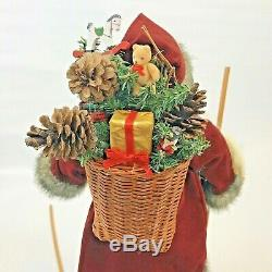 Vintage Santa Figure Artist Linda Cowell Skiing Christmas Handmade One of Kind