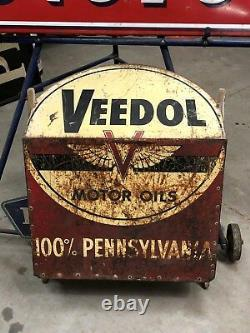 Vintage VEEDOL Sign Motor Oil Morter Mix Container Gas Oil OLD One of a kind