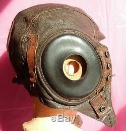 WWII AAF Leather A11 Flying Helmet, Rigger Modified! One of a Kind