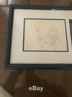 Walt Disney DuckTales Production Animation Cel and Drawing Art COA One Of A Kind