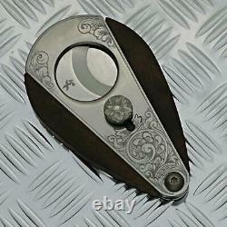 XiKAR Xi3 Macassar Ebony Cigar Cutter Custom hand engraved one a kind
