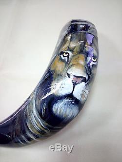14-16 Shofar Corne De Ram. Peint À La Main Poli Neuf. Lion De Judah. Unique En Son Genre