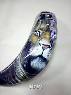 17-18 Ram Horn Shofar. Peint À La Main Poli Nouveau. Lion De Juda. Unique En Son Genre
