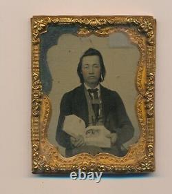 1850 Rare De Kind Image Amérindien Vêtements Civils Plumes Boucles D'oreilles