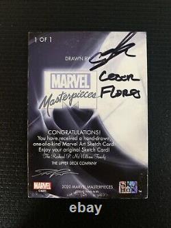 2020 Marvel Chefs-d'œuvre Gambit Sketch Card Par Cesar Flores One Of A Kind 1/1