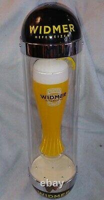 24 H Widmer Hefeweizen Spinning Glass Light Beer Sign, One Of The Kind
