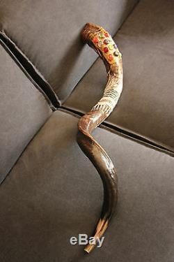 40-42 Kudu Corne Shofar. Peinte À La Main. Unique En Son Genre. Talith Et 12 Tribus Pierres